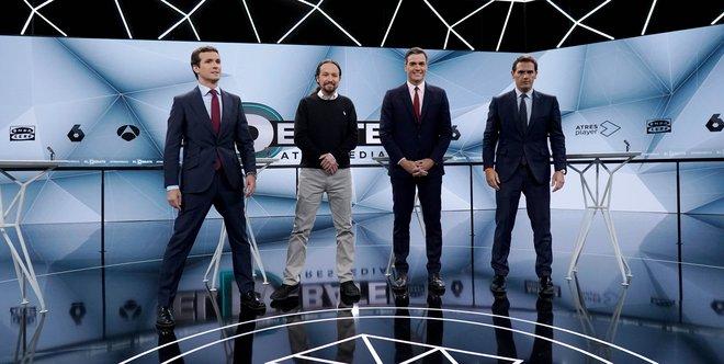 Pablo Casado, Pablo Iglesias, Pedro Sánchez y Albert Rivera, antes del debate de Atresmedia.
