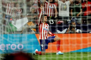 Morata celebra el primer gol del Atlético en La Liga.