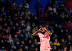 Arturo Vidal en el partido del FC Barcelona ante el Getafe.