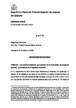 Auto de procesamiento del TSJC contra Jové y Salvadó por el 1-O.