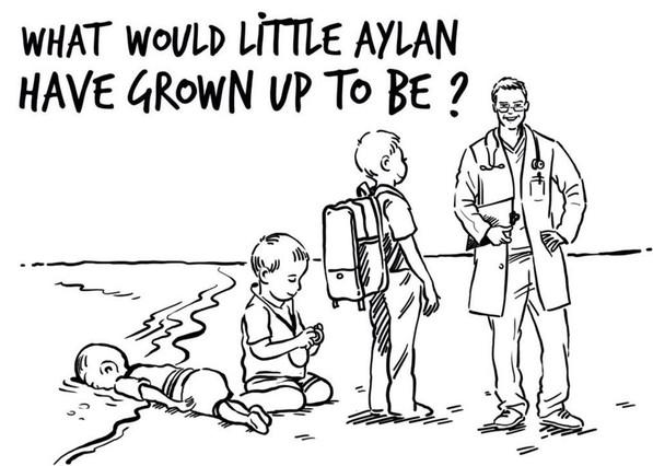 Caricatura en que, a la burla de Charlie Hebdo que auguraba que Aylán de mayor sería acosador, el dibujante Osama Hajjajresponde que el niño ahogado, de no haber fallecido, se hubiera convertido en un médico.