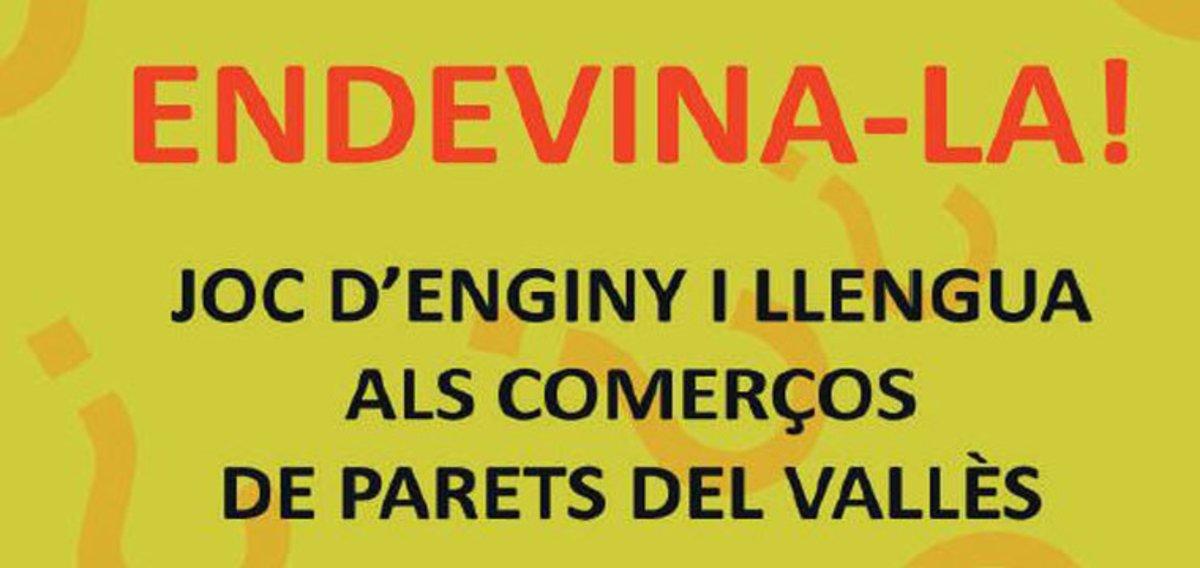 Cartel promocional del juego lingüístico Endevina-la.