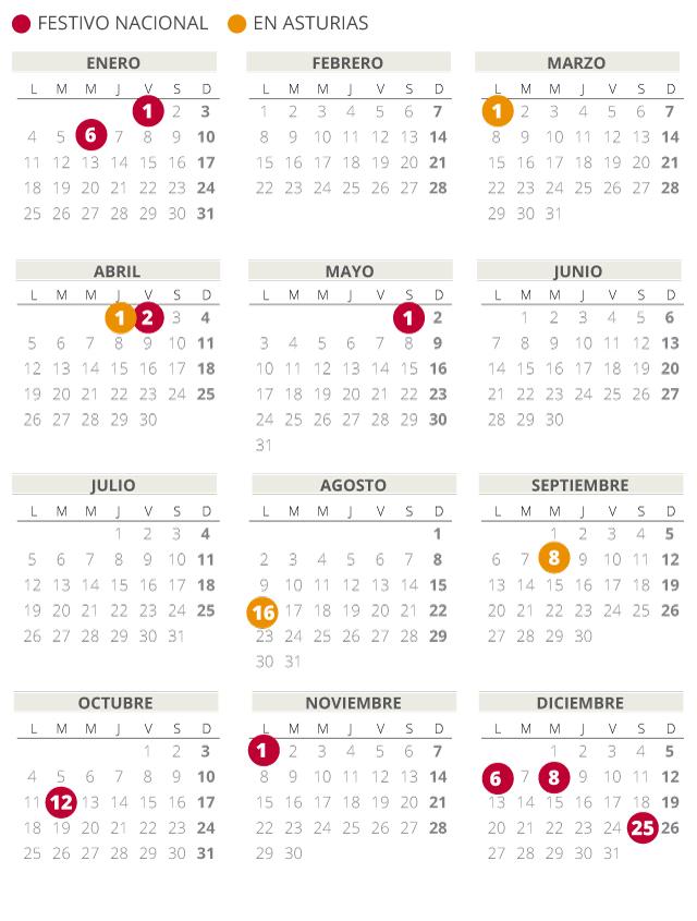 Calendario laboral de Asturias del 2021.