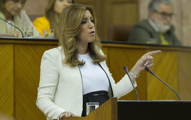 La candidata socialista para presidir la Junta de Andalucía, Susana Díaz, este martes, en el Parlamento autonómico.