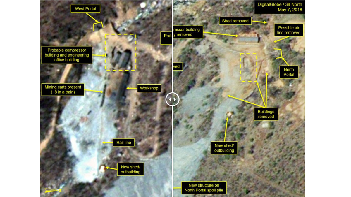 Fotos del campo nuclear de Punggye-ri, en Corea del Norte.