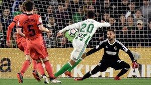 Cristian Tello en el partido de liga ante la Real Sociedad