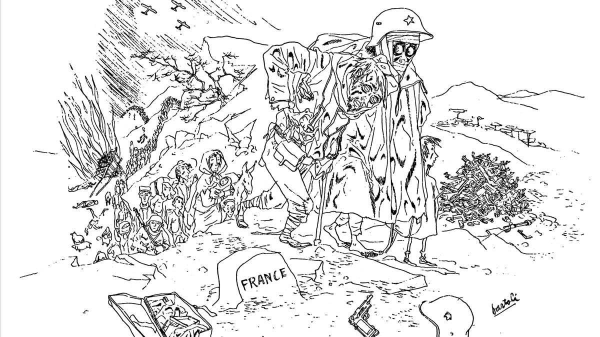 Dibujo de Josep Bartoli, reflejando el horror de los exiliados republicanos en los campos de concentración de Francia. Su figura y su cuaderno de dibujo lorecupera el libro 'La retirada'.