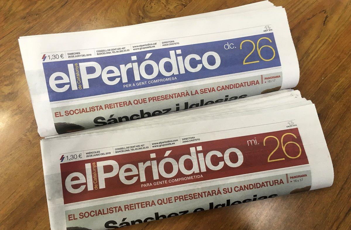 Dos ejemplares de EL PERIÓDICO, en castellano y catalán.