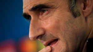 Ernesto Valverde, en la rueda de prensa previa al partido contra el Dortmund.