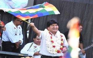 Evo Morales en un evento en Argentina.