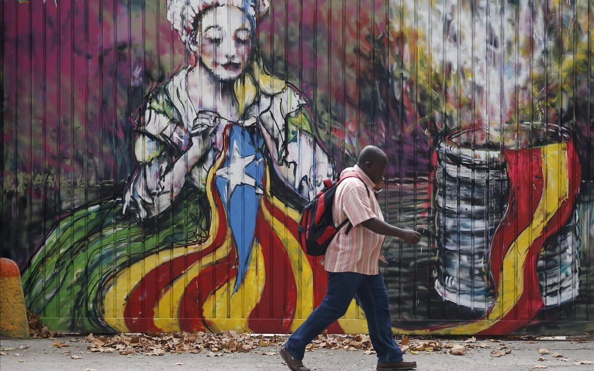 Una obra del artista urbano Ze Carrion en Barcelona, en una imagen captada en septiembre pasado.