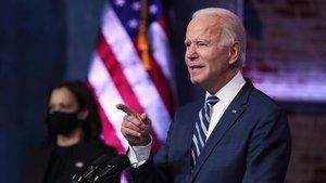 Joe Biden y Kamala Harris, durante la rueda de prensa que han ofrecido este martes.
