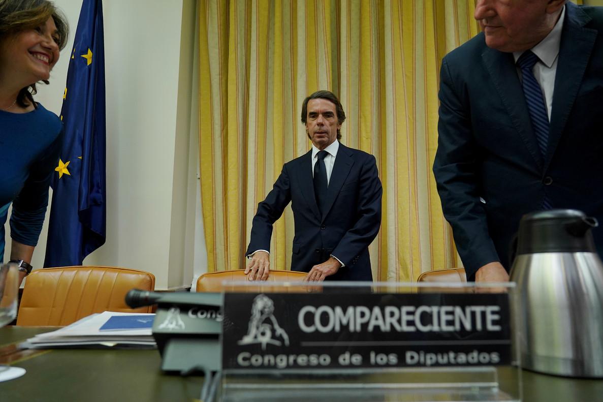 José María Aznar, durante su comparecencia en la comisión de investigación sobre la caja b del PP.