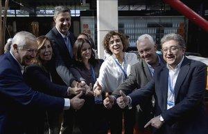 Los populares Xavier García Albiol, Alícia Sánchez-Camacho, Dolors Montserrat, Andrea Levy, Javier Arenas y Enric Millo en una fotografía de marzo del 2017.