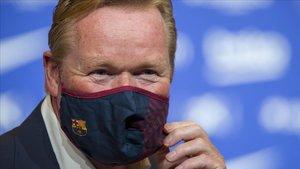 Koeman, en su presentación como entrenador del Barça.