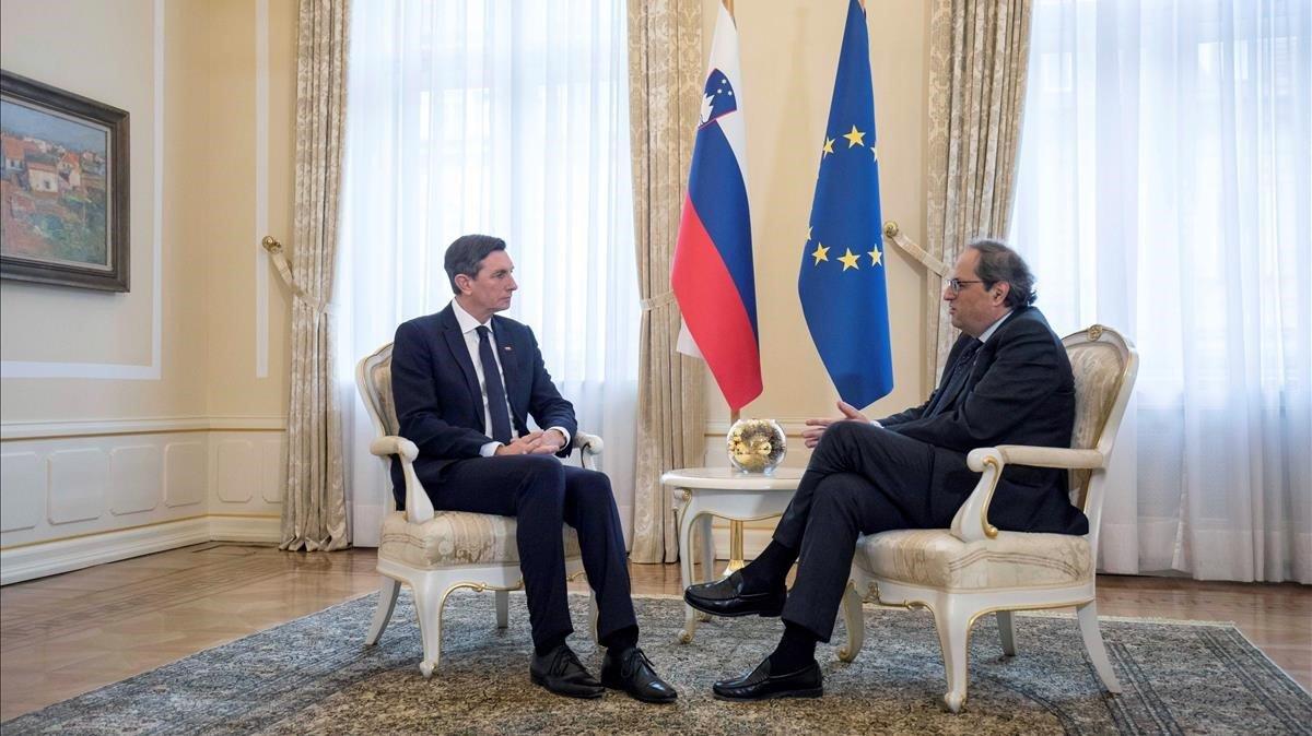 Fotografia facilitada por la Presidencia de la Generalitat del encuentro en Liubliana deQuim Torracon el presidente de Eslovenia Borut Pahor, el pasado 6 de diciembre.