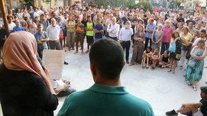Manifestación en El Masnou contra el racismo y la xenofobia, este miércoles.