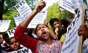 Manifestación de mujeres del estado deUttar Pradesh tras la violación de una niña de 8 años en abril del 2018.