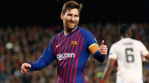 Messi celebra su segundo gol al United.