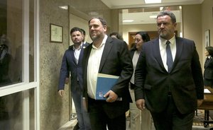 Oriol Junqueras, tras recoger su acta como diputado.