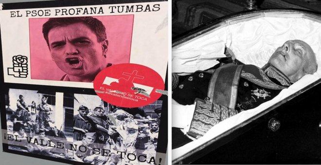 El proyecto del Gobierno de sacar a Franco del Valle de los Caídos ha calentado los ánimos de los últimos franquistas. A la izquierda, pasquín en una pared de Madrid. A la derecha, el cuerpo de Franco, expuesto al público en noviembre de 1975.