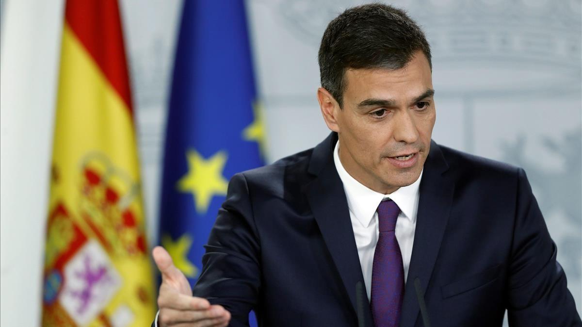 Pedro Sánchez, durante la rueda de prensa que ha ofrecido tras el Consejo de Ministros.