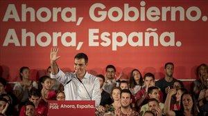 Pedro Sánchez, el pasado miércolesen un mitin en València.