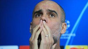Pep Guardiola, durante una rueda de prensa.