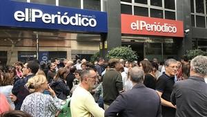 Los trabajadores de El Periódico apoyan el paro convocado por la Taula per la Democràcia.
