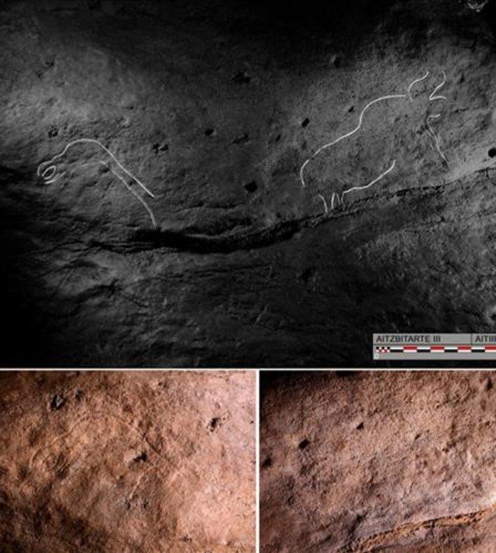 En los grabados se pueden observar animalescomo bisontes, caballos o aves.