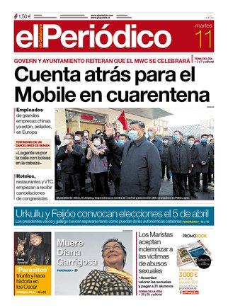 La portada de EL PERIÓDICO del 11 de febrero del 2020.