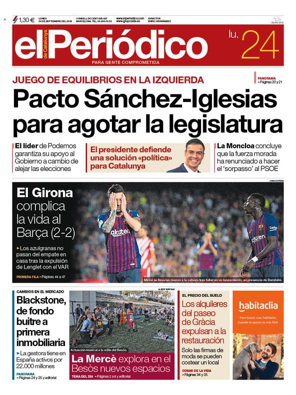 La portada de EL PERIÓDICO del 24 de septiembre del 2018