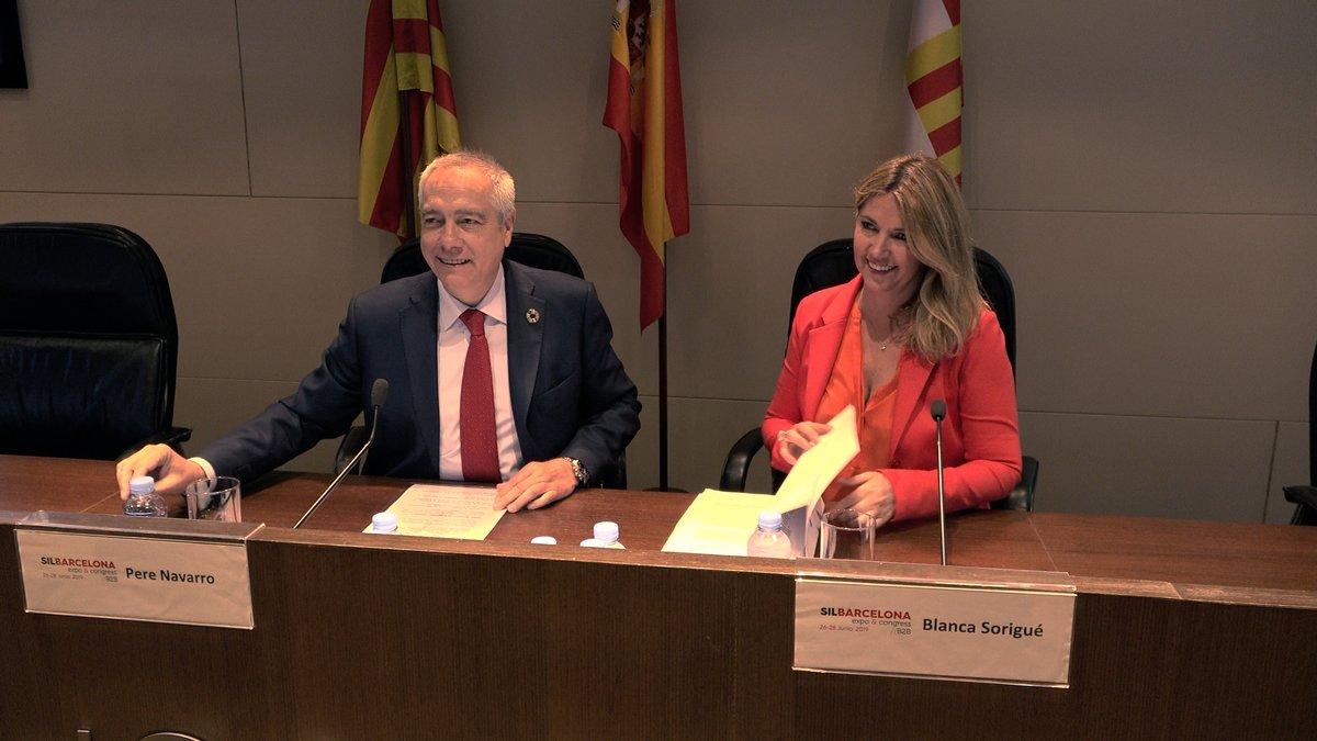 Pere Navarro y Blanca Sorigué durante la presentación del SIL.