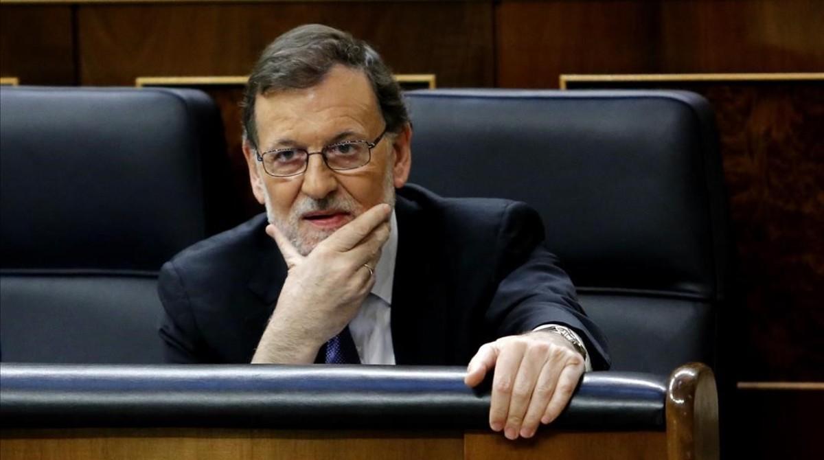 El presidente del gobierno en funciones, Mariano Rajoy, en su comparecencia en el Congreso.