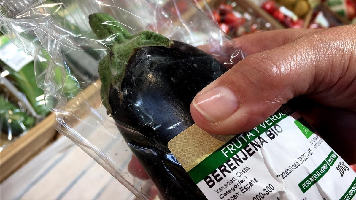 Berenjena procedente del cultivo biológico.