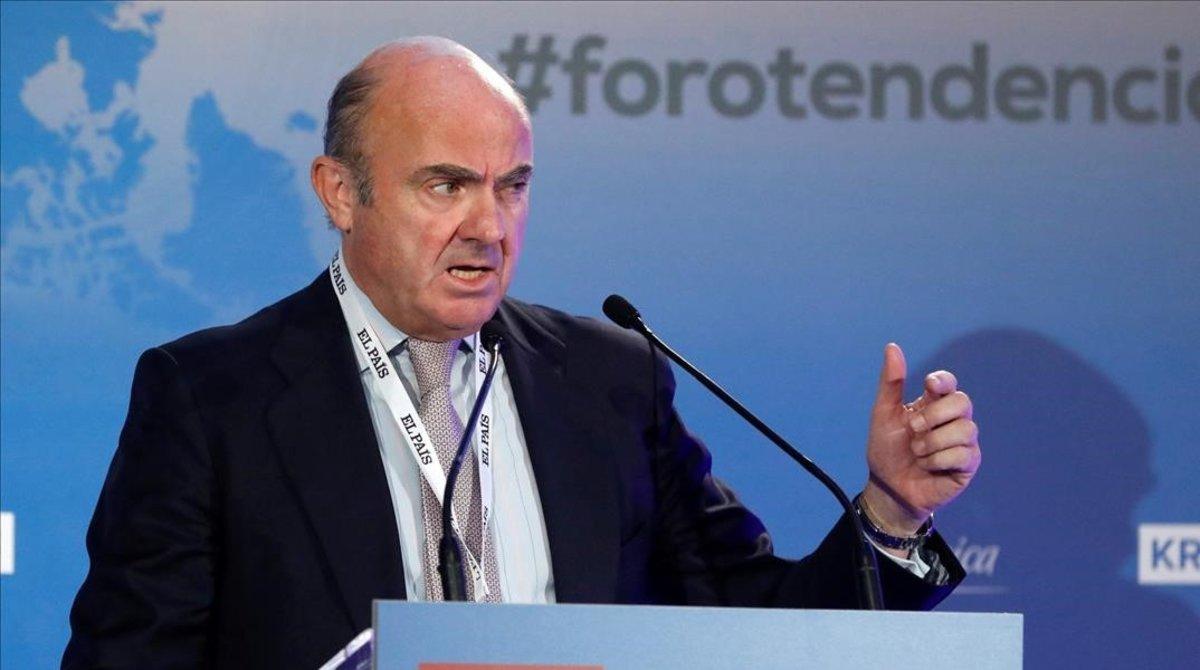 El vicepresidente del BCE, Luis de Guindos, durante su intervención en el 'Foro Tendencias 2020'.