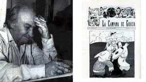 El dibujante Shum y una de sus creaciones.
