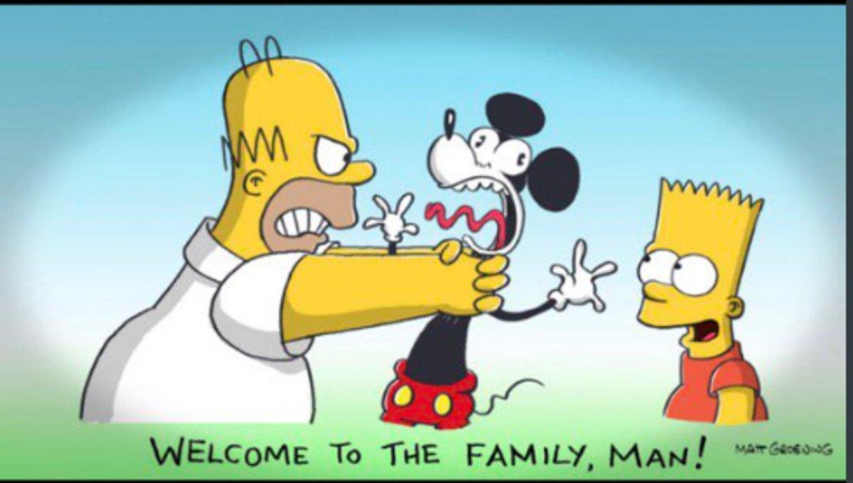 Caricatura de Homer, Bart y Mickey Mouse publicada en Twitter.