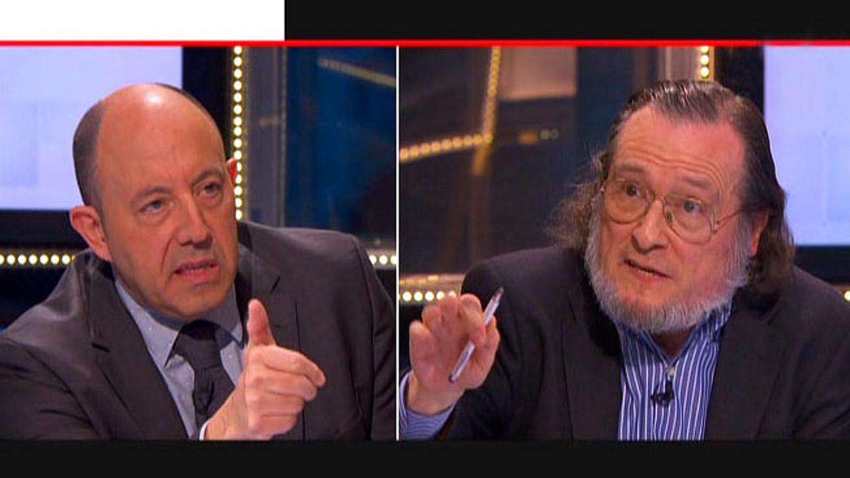 Gonzalo Bernardos y SantiagoNiño Becerra, en Preguntes freqüents de TV-3.