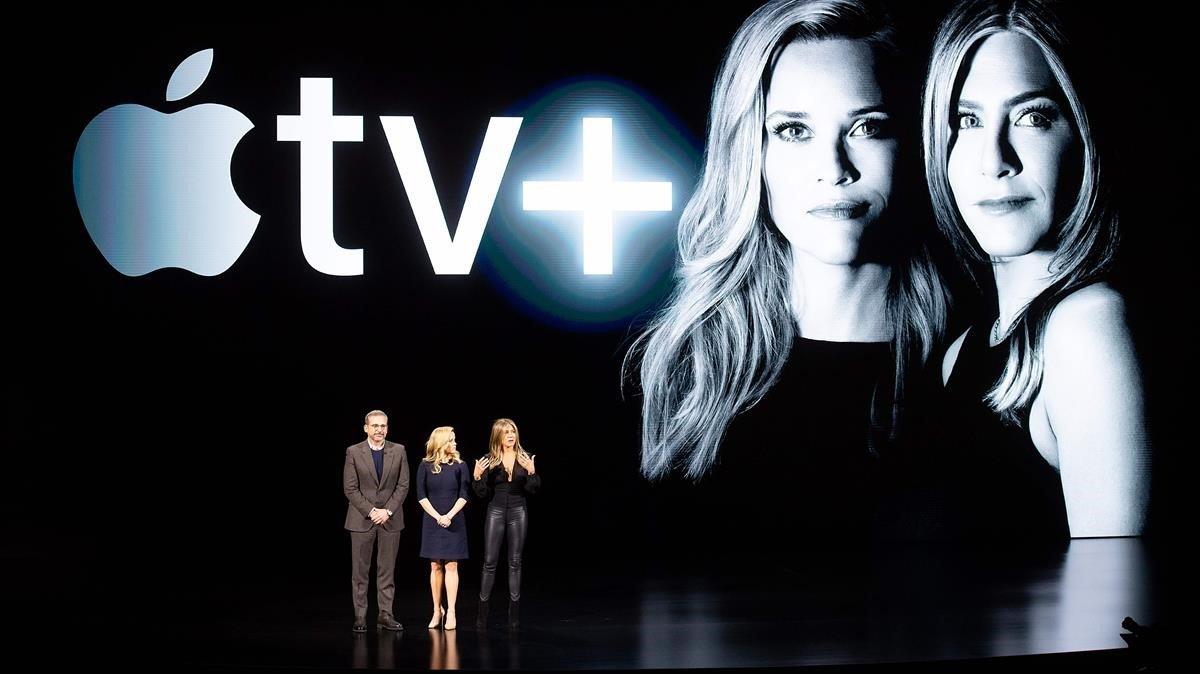 Steve Carell, Reese Witherspoon y Jennifer Aniston, en el lanzamiento de Apple TV+, el pasado mes de marzo