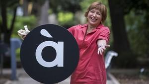 La directora general de la Sociedad Anonima de Medios de Comunicacion de la Comunitat Valenciana, Empar Marco, en la presentacion de la identidad visual de A Punt.