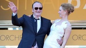 Thurman y Tarantino, en Cannes, en mayo del 2004.