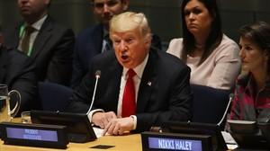 Trump, en las Naciones Unidas, la víspera de su intervención ante la Asamblea General del ente.