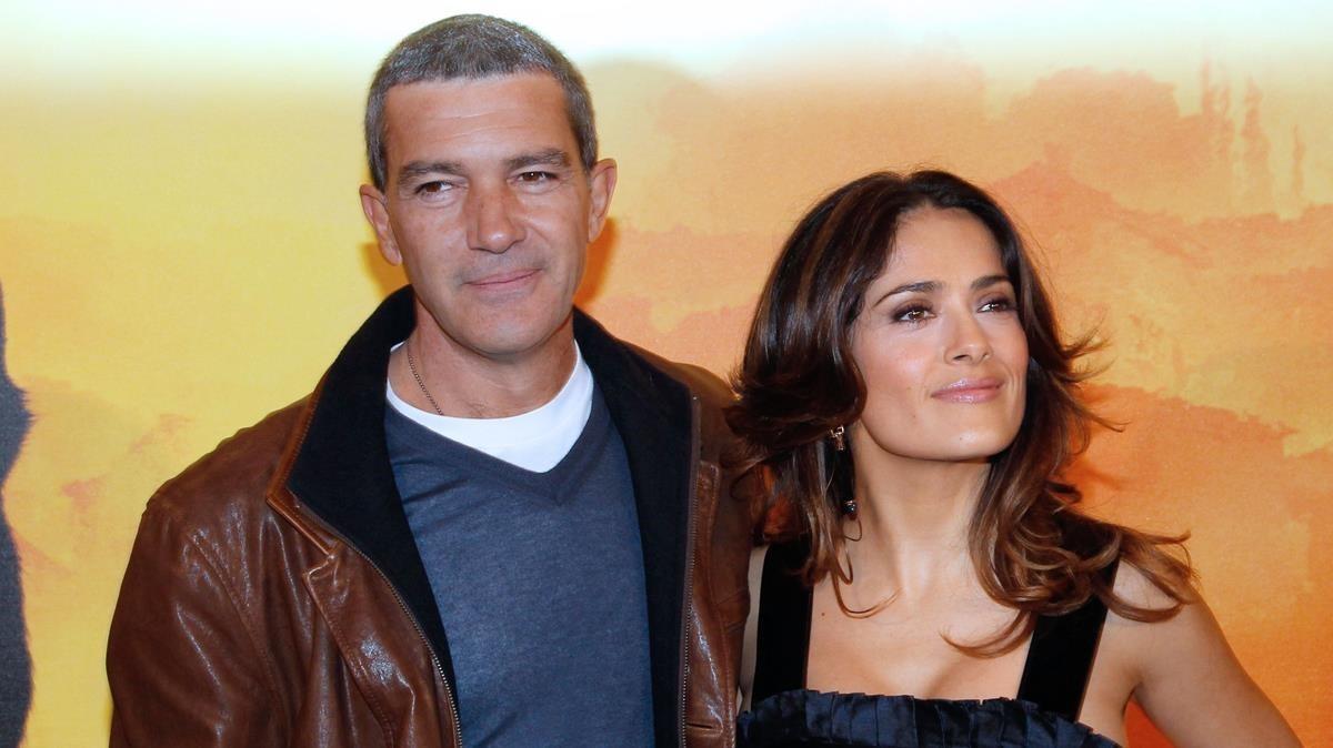 Antonio Banderas y Salma Hayek, en la presentación de la película El gato con botas.