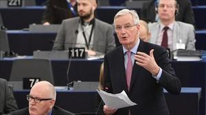 El negociador de la UE, Michel Barnier, durante su intervención en el Parlamento Europeo.