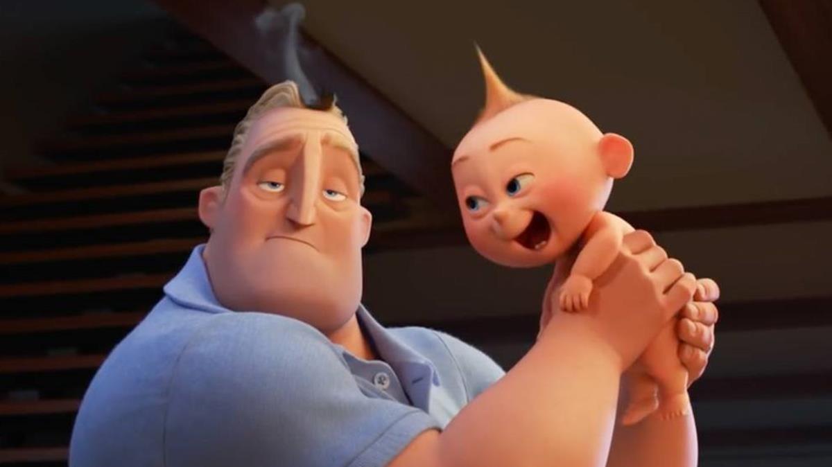 Mr. Increíble con su hijo.