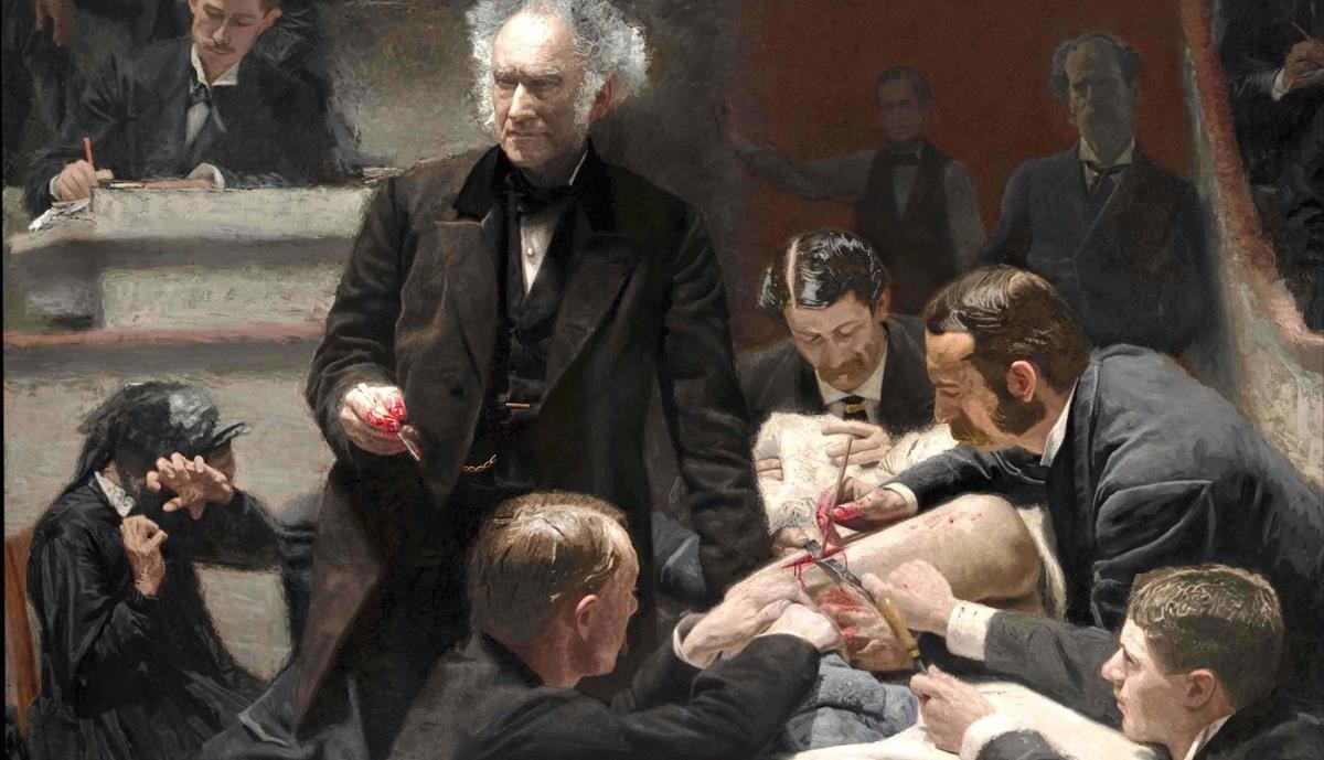 El cuadro The Gross Clinic (1875), de Thomas Eakins, usado para la cubierta de De matasanos a cirujanos.