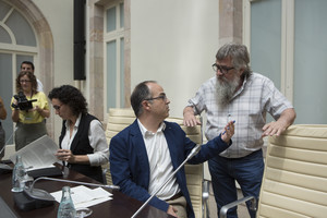Marta Rovira (ERC), Jordi Turull (Pdecat) y Joan Garriga (CUP), el 4 de julio del 2017 en el auditorio del Parlament.