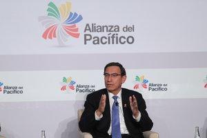 El presidente de Perú, Martín Vizcarra, durante el cierre de la Cumbre Alianza del Pacífico, en Lima (Perú).