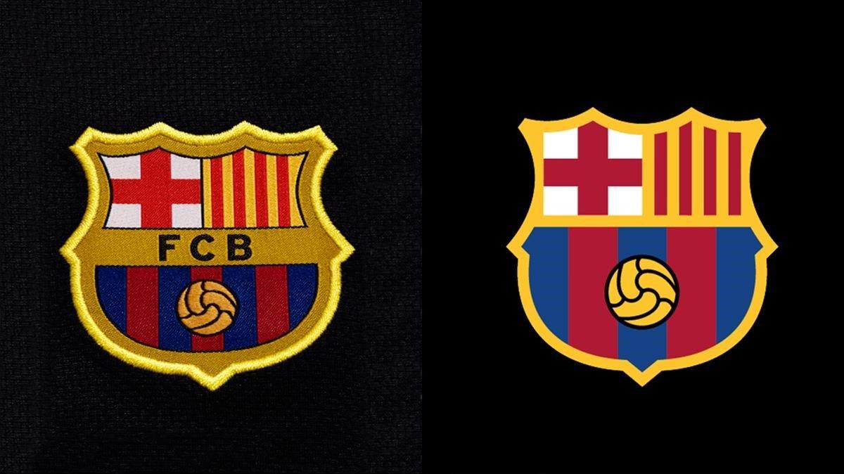 El actual y el futuro escudo del FC Barcelona.